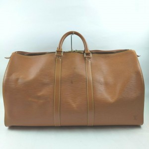 Louis Vuitton Light Brown Epi Leather Keepall 55 Duffle  Bag GM 862262