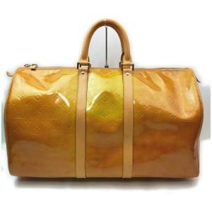 Louis Vuitton Yellow Monogram Vernis Mercer Keepall Duffle Bag  862103