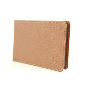 Louis Vuitton Brown Taiga Leather Card Holder ID Case Wallet 4lvs1231
