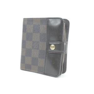Louis Vuitton Brown Compact Zip Damier Ebene Square Snap Elise Zippy 22lk0122 Wallet