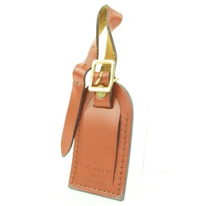 Louis Vuitton Rare Brown Leather Luggage Tag Bag Charm Speedy Keepall Epi 24lvs121