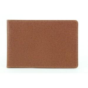 Louis Vuitton Brown Taiga Leather Monogram Card Holder Wallet case 97lvs427