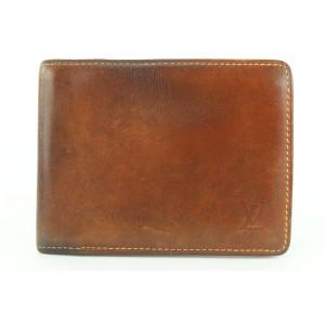 Louis Vuitton Brown Vachetta Nomade Leather Bifold Wallet Mens Slender Marco 96lvs42