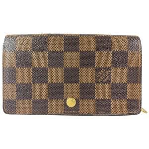 Louis Vuitton Damier Ebene Compact Snap Zippy Wallet Zip Around 25lvs422