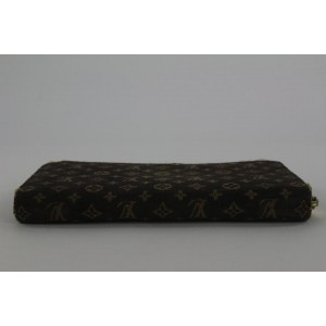 Louis Vuitton Ebene Brown Monogram Mini Lin Zippy Wallet Zip Around 2lvs17