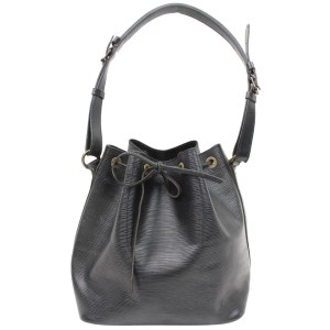 Louis Vuitton  Black Epi Leather Petit Noe Drawstring bucket Hobo 8651816