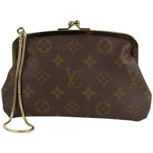 Louis Vuitton Monogram Kisslock Pouch Wristlet Marais Bucket Clutch 3lvs1224