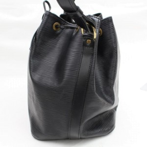 Louis Vuitton Bucket Petit Noe Drawstring 868454 Black Leather Shoulder Bag