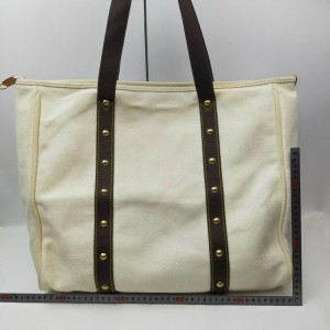 Louis Vuitton White x Brown Cabas Antigua GM Tote Bag 862065