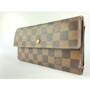Louis Vuitton Damier Ebene Sarah Long Trifold Continental Wallet 9LVA1117
