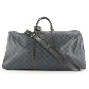 Louis Vuitton Damier Cobalt Keepall Bandouliere 55 Duffle Bag with Strap 369lvs225
