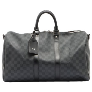 Louis Vuitton Black Damier Graphite Keepall Bandouliere 45 Duffle Bag 12lv62
