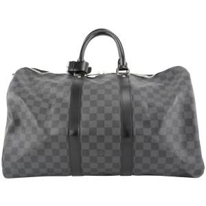 Louis Vuitton Black Damier Graphite Keepall Bandouliere 45 Duffle Bag 862859