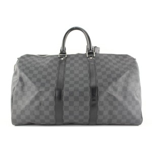 Louis Vuitton Damier Graphite Keepall Bandouliere 45 Duffle Bag with Strap 499lvs35