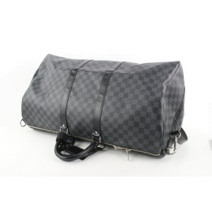 Louis Vuitton Damier Graphite Keepall Bandouliere 55 Duffle Bag with Strap
