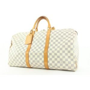 Louis Vuitton Discontinued Damier Azur Keepall 50 Duffle Bag