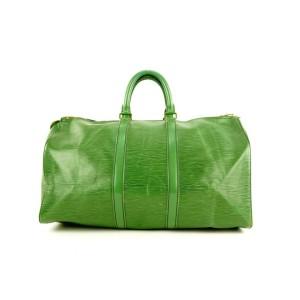 Louis Vuitton Green Epi Leather Borneo Keepall 45 Duffle Bag 569lvs311
