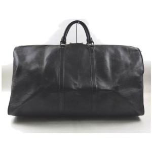 Louis Vuitton Black Epi Leather Noir Keepall 60 Duffle Bag 862474