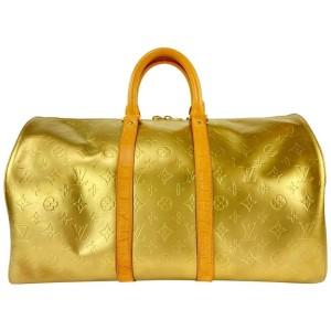 Louis Vuitton Matte Gold Monogram Vernis Mercer Keepall Duffle Bag 513LV0