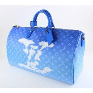 Louis Vuitton Blue Monogram Clouds Keepall Bandouliere 50 Duffle Bag Strap 24LVS1210
