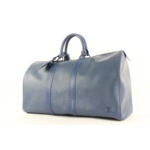 Louis Vuitton Ultra Rare Navy Blue SHW Epi Leather Keepall 45 Duffle Bag 498lvs35