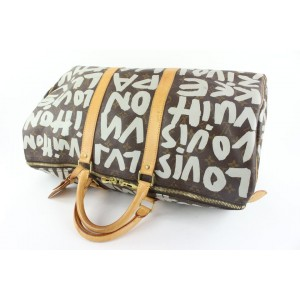 Louis Vuitton Silver Gray Stephen Sprouse Monogram Graffiti Keepall 50 Bag 150lvs430