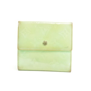Louis Vuitton Green Elise Snap Compact Wallet Vernis Monogram Coin Purse 31LK0110