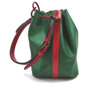Louis Vuitton Bicolor Green x Red Petite Noe Drawstring Bucket Hobo Bag  862671