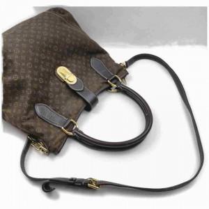 Louis Vuitton Fusain Brown Ebene Mini Lin Elegie Hobo Bag  with Strap  858336