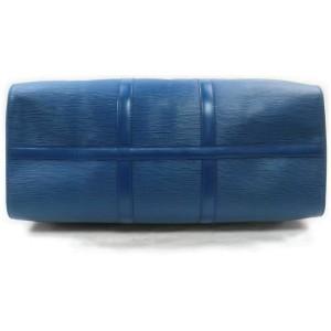 Louis Vuitton Blue Leather Epi Keepall 50 Duffle Boston Travel 860958
