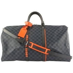 Louis Vuitton Damier Cobalt Race Keepall Bandouliere 55 Duffle with Strap 67lvs423