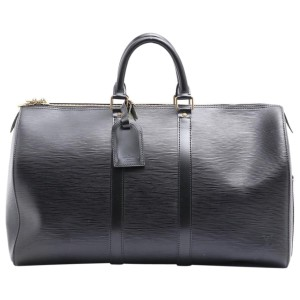 Louis Vuitton Black Epi Leather Noir Keepall 45 Duffle PM 861553