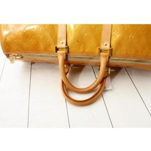 Louis Vuitton Dark Yellow Monogram Vernis Mercer Keepall Duffle Boston Bag 862122