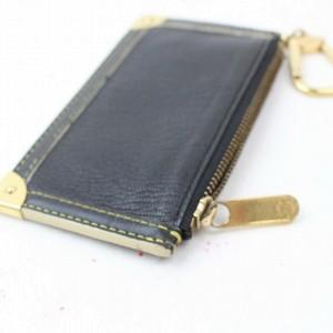 Louis Vuitton Black Suhali Leather Key Pouch Pochette Cles 859548