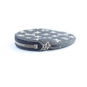 Louis Vuitton Monogram Mini Lin Round Coin Purse Black Grey 2LR0424