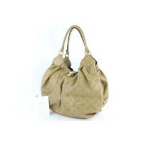 Louis Vuitton Large Taupe Monogram Mahina Perforated Leather L Hobo 5LZ859