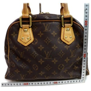 Louis Vuitton Manhattan Pm Monogram Bowler 872487 Brown Coated Canvas Satchel