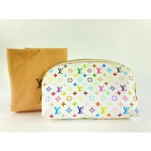 Louis Vuitton Game On White Multicolor Blanc Cosmetic Pouch Round Toiletry 862147