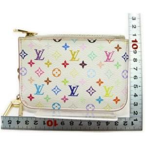 Louis Vuitton White Multicolor Monogram Blanc Pochette Cles NM Key Pouch 857417