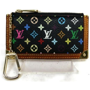 Louis Vuitton Black Monogram Multicolor Pochette Cles Key Pouch Keychain 862676
