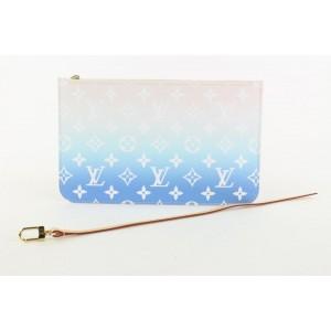 Louis Vuitton Blue Monogram By the Pool Neverfull Pochette MM Wristlet Bag 34lvs422