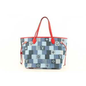 Louis Vuitton Denim Patchwork Neverfull MM Tote Bag