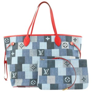 Louis Vuitton Denim Patchwork Monogram Neverfull MM Tote Bag with Pouch