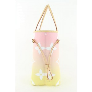 Louis Vuitton Pink Yellow Monogram By the Pool Neverfull MM Tote Bag 808lvs47