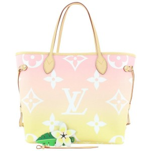 Louis Vuitton Pink x Yellow Monogram By the Pool Neverfull MM Tote Bag 938lvs415