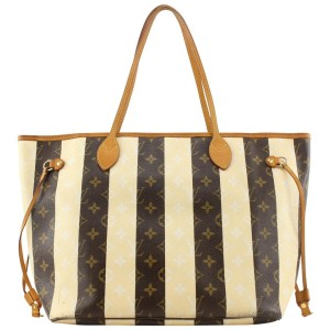 Louis Vuitton Rare Limited Rayures Monogram Neverfull MM Tote Bag