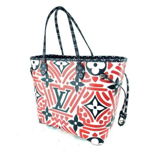 Louis Vuitton Neverfull Crafty Mm Limited Tribal African 860086 Red Monogram Canvas Tote