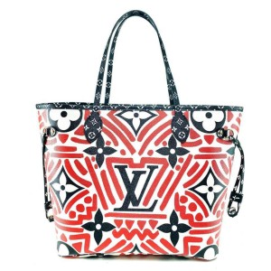 Louis Vuitton Neverfull Crafty Mm with Pouch Limited Tribal African 860091 Red Coated Canvas Tote
