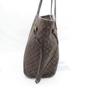 Louis Vuitton Ebene Monogram Mini Lin Neverfull MM Tote 859663