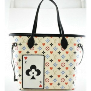 Louis Vuitton White Multicolor Game On Neverfull MM with Pouch Hearts 862060